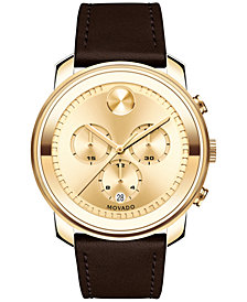 Movado Men's Swiss Chronograph Bold Brown Leather Strap Watch 44mm 3600409