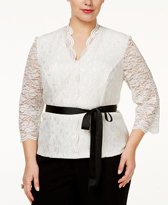 Alex Evenings Plus Size Belted Glitter Lace Blouse