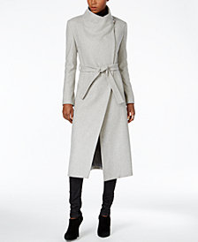 Kenneth Cole Asymmetrical Belted Maxi Wool Coat