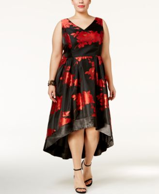 SL Fashions Plus Size Floral High-Low Dress