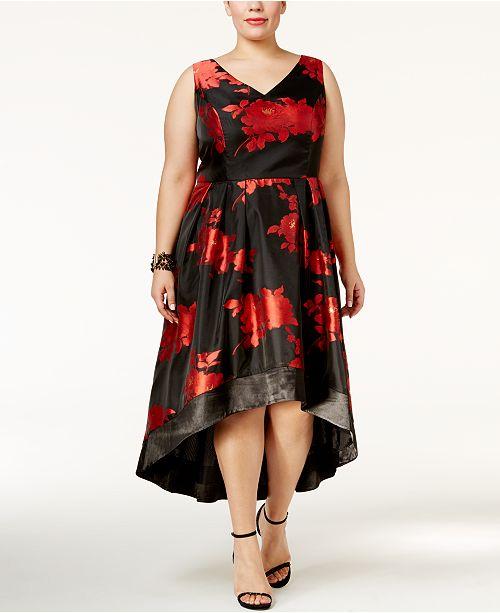 SL Fashions Plus Size Floral High-Low Dress
