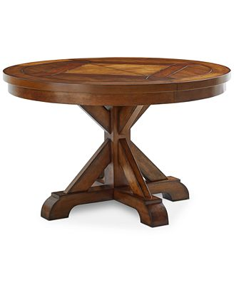 mandara round expandable dining trestle table - furniture - macy's