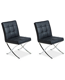 Kalem Set of 2 Leather Side Chairs, Quick Ship