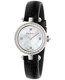 Women's Swiss Diamantissima Diamond (1/4 ct. t.w.) Black Leather Strap Watch 27mm