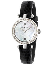 Gucci Women's Swiss Diamantissima Diamond (1/4 ct. t.w.) Black Leather Strap Watch 27mm YA141507