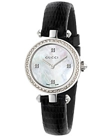 Gucci Women's Swiss Diamantissima Diamond (1/4 ct. t.w.) Black Leather Strap Watch 27mm