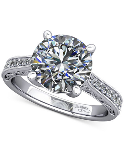 Diamond Artisan Solitaire Mount Setting with Filigree (1/6 ct. t.w.) in 14k White Gold