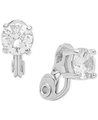 Anne Klein Crystal Solitaire E Z Comfort Clip On Earrings Fashion