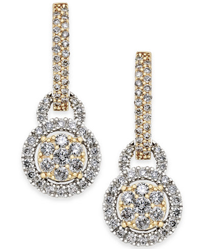 Diamond Two-Tone Drop Earrings (1 ct. t.w.) in 14k Gold and White Gold