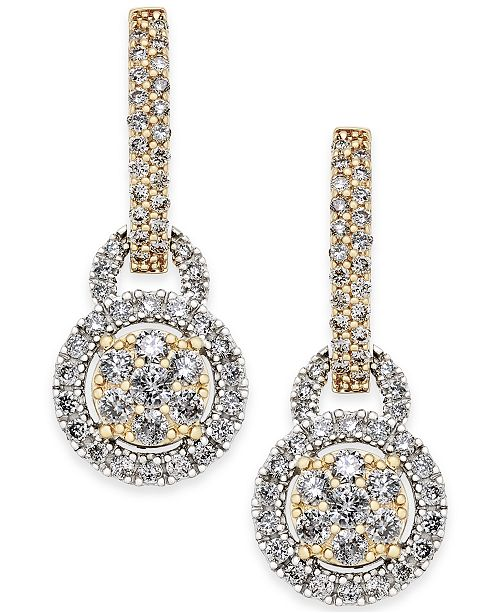 Macy's Diamond Two-Tone Drop Earrings (1 ct. t.w.) in 14k Gold and White Gold