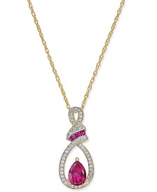 Certified Ruby (9/10 ct. t.w.) and Diamond (1/5 ct. t.w.) Pendant Necklace in 14k Gold