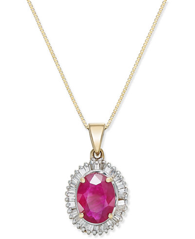 Ruby (1-3/4 ct. t.w.) and Diamond (1/3 ct. t.w.) Pendant Necklace in 14k Gold