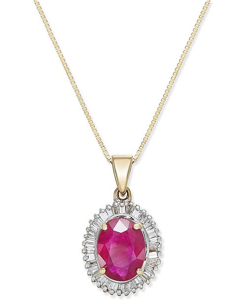 Macy's Ruby (1-3/4 ct. t.w.) and Diamond (1/3 ct. t.w.) Pendant Necklace in 14k Gold