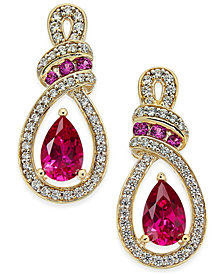 Certified Ruby (1-1/3 ct. t.w.) and Diamond (1/4 ct. t.w.) Drop Earrings in 14k Gold