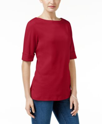 Image of Karen Scott Elbow-Sleeve Boat-Neck Top, Only at Macy's