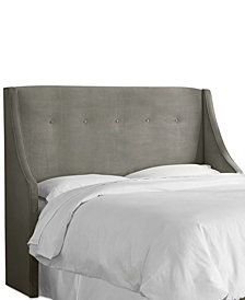 Galvez Twin Button Tufted Wingback Headboard, Quick Ship
