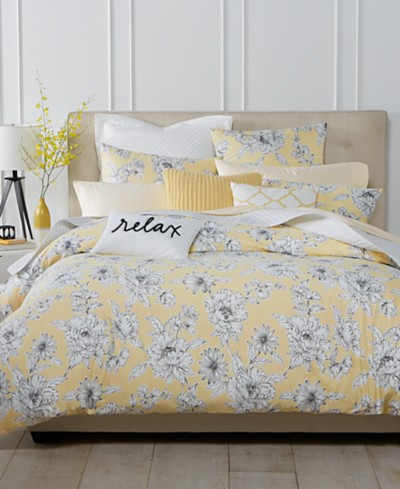 Charter Club Damask Designs Butter Floral 3 Piece Duvet Sets, Created for Macy's