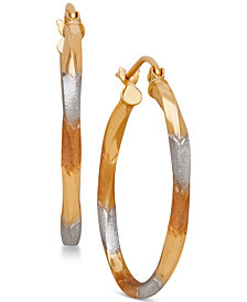 Tri-Tone Twist Hoop Earrings in 14k Gold with White and Rose Rhodium-Plating