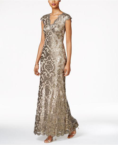 4ccb8ccaf3ab Tadashi Shoji Sequined Lace Gown & Reviews - Dresses - Women - Macy's
