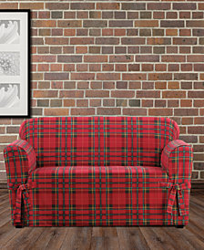 CLOSEOUT! Sure Fit Highland Plaid 1-Pc. Slipcover Collection