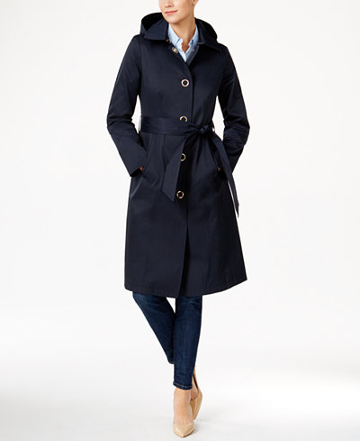 Anne Klein Hooded Water Resistant Trench Coat Coats