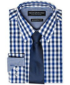 Men's Modern Fitted Multi-Gingham Dress Shirt & Solid Tie Set