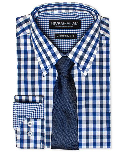 66cf5eb0 Nick Graham Men's Modern Fitted Multi-Gingham Dress Shirt & Solid ...