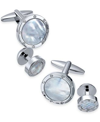 Sutton by Rhona Sutton Stainless Steel Mother-of-Pearl Stone 2-Pc. Set Cuff Links