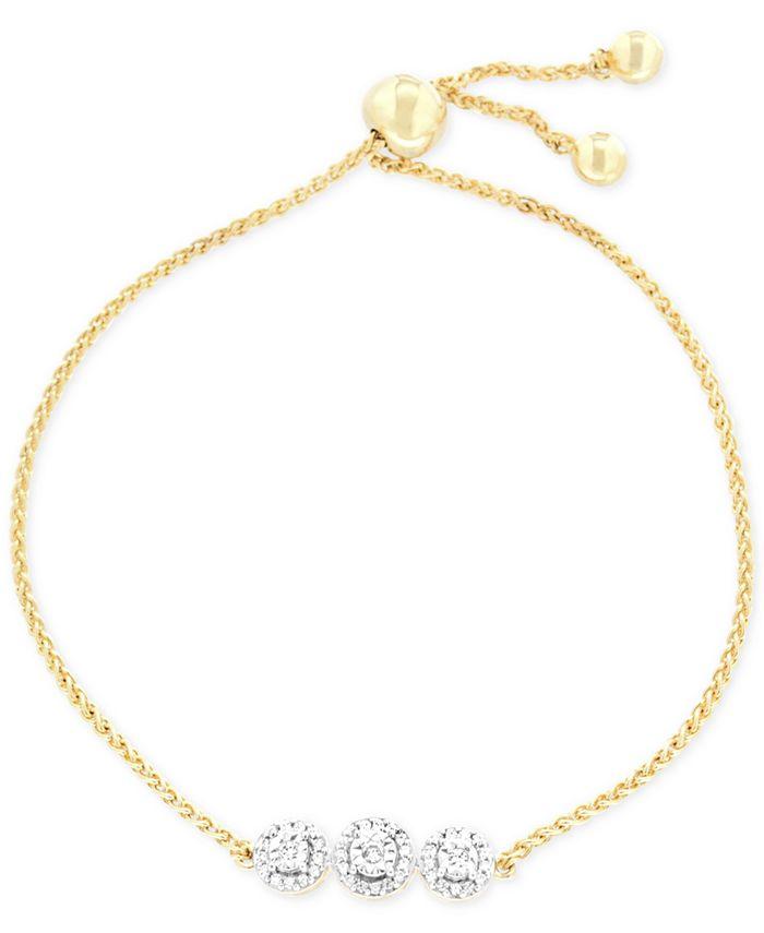 Wrapped - Diamond Cluster Slider Bolor Bracelet (1/6 ct. t.w.) in 14k Gold-Plated Sterling Silver