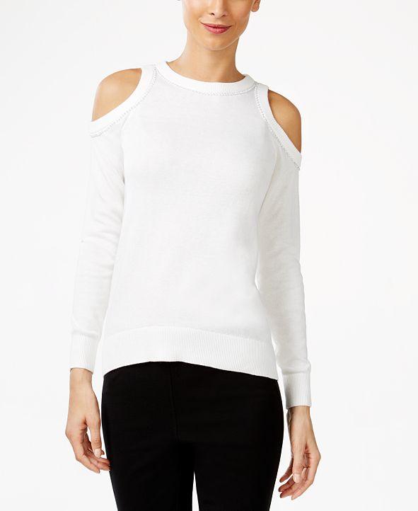Michael Kors Embellished Cold-Shoulder Sweater