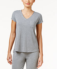 Alfani Chiffon-Trimmed Knit Pajama Top, Created for Macy's
