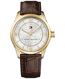 Tommy Hilfiger Men's Brown Leather Strap Watch 42mm 1791332, Created for Macy's