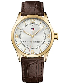 Tommy Hilfiger Men's Brown Leather Strap Watch 42mm Created for Macy's