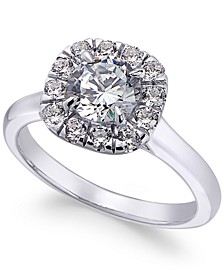 Certified Diamond Halo Engagement Ring (1-1/2 ct. t.w.) in 18k White Gold, Created for Macy's