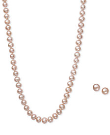 Pink Cultured Freshwater Pearl (6mm) Necklace and Matching Stud (7-1/2mm) Earrings Set in Sterling Silver