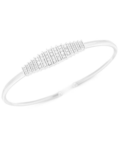 Diamond Cluster Flexie Bangle Bracelet (1/2 ct. t.w.) in Sterling Silver