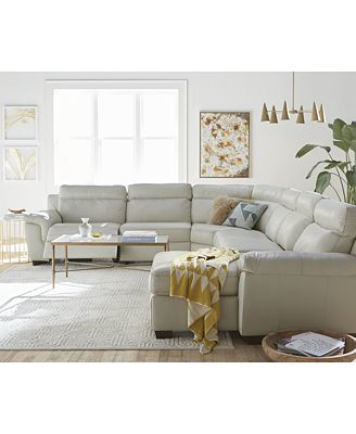 Julius Leather Power Reclining Sectional Sofa Collection Created