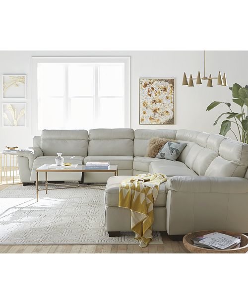 Furniture Julius II 6-Pc. Leather Chaise Sectional Sofa With 2 Power ...