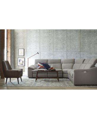 Kelsee Fabric And Leather Power Reclining Sectional Sofa Collection,  Created For Macyu0027s