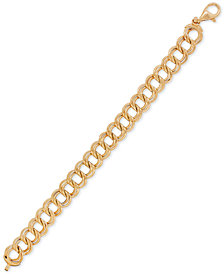 Double Ring Polished Link Bracelet in 14k Gold