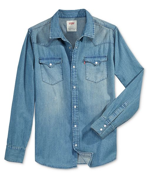 2b75b16d2a Levi s Men s Standard Barstow Western Long-Sleeve Denim Shirt ...