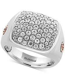 EFFY® Men's White Sapphire Cluster Ring (2 ct. t.w.) in Sterling Silver and 18k Rose Gold