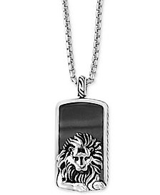 EFFY® Men's Hematite (36 x 20mm) Lion Dog Tag Pendant Necklace in Sterling Silver