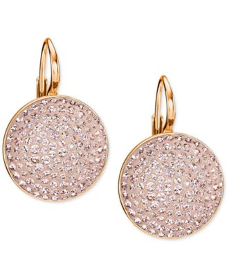 Swarovski Rose GoldTone Pink Glitter Drop Earrings Jewelry