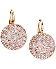 Swarovski Rose Gold-Tone Pink Glitter Drop Earrings
