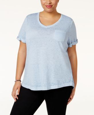 Image of Style & Co Plus Size Burnout T-Shirt, Created for Macy's