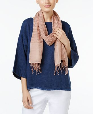 Eileen Fisher Linen-Merino Wool Striped Scarf