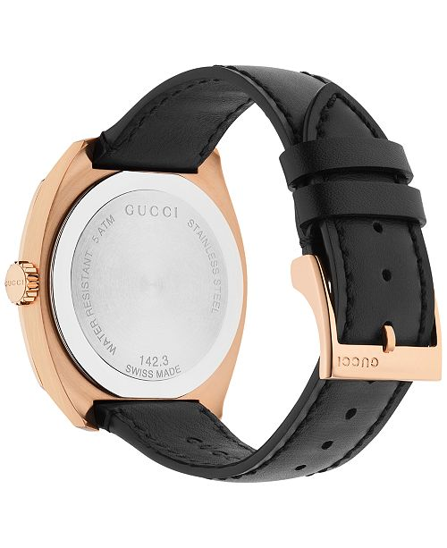 eee1eed5 Gucci Men's Swiss GG2570 Black Leather Strap Watch 41mm ...