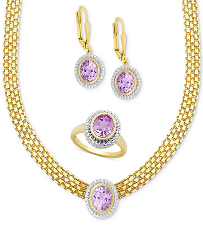 Amethyst Collar Necklace, Drop Earrings and Ring Set (7-1/5 ct. t.w.) in 18k Gold-Plated Sterling Silver