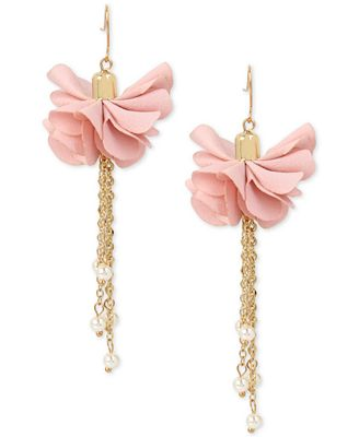 M. Haskell for INC International Concepts Gold-Tone Imitation Pearl Flower Drop Earrings, Only at Macy's